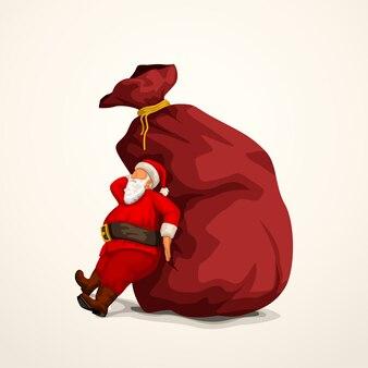 Santa pushing bag