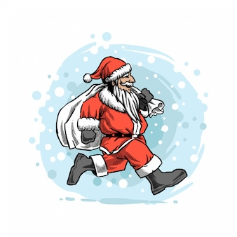 Santa ran in the snow with gifts illustration