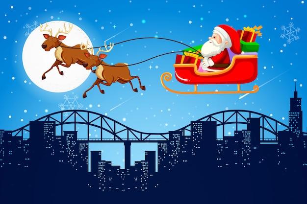 Santa and reign deer scene