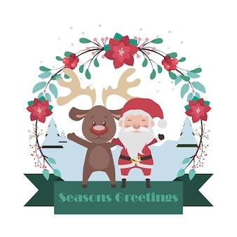 Santa and reindeer banner with floral frame