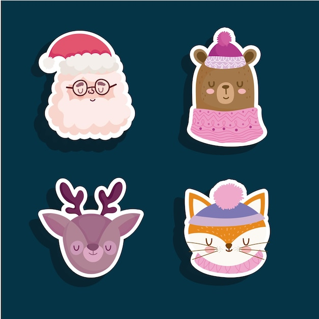 Santa reindeer bear and fox stickers