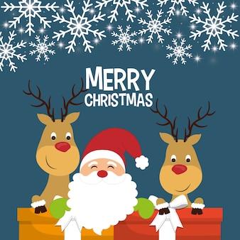 Santa and reindeer cartoon of chistmas design