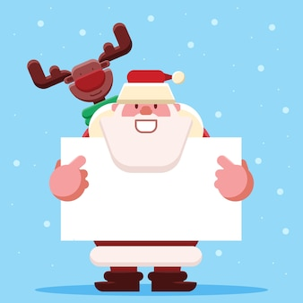 Santa and reindeer holding a blank banner for christmas