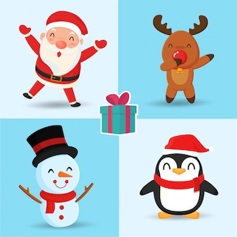 Santa reindeer snowman and penguin cute cartoon characters.