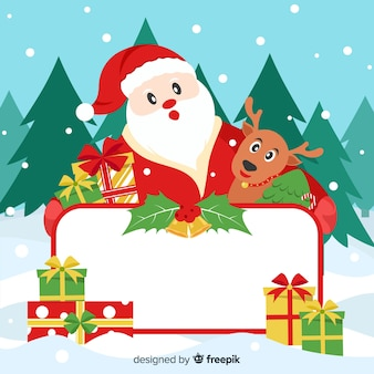Santa and reindeer with blank sign