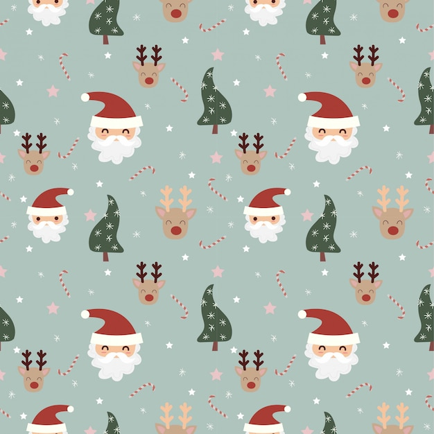 Santa and reindeer with christmas elements seamless pattern