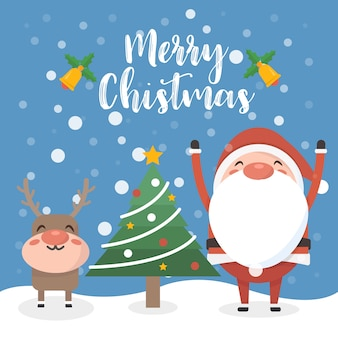 Santa and reindeer with christmas tree. Premium Vector