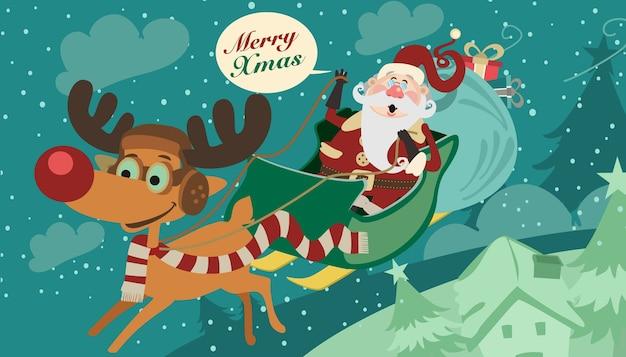 Santa and the reindeer