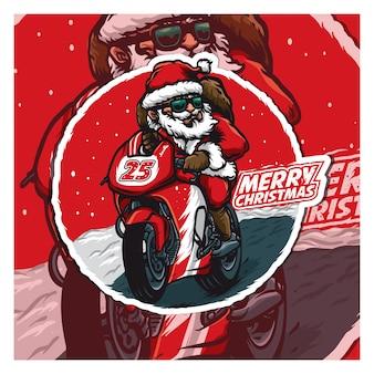 Санта ездит на спортивном велосипеде