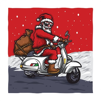 Santa ride a vespa bike Premium Vector