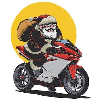 Santa riding bike