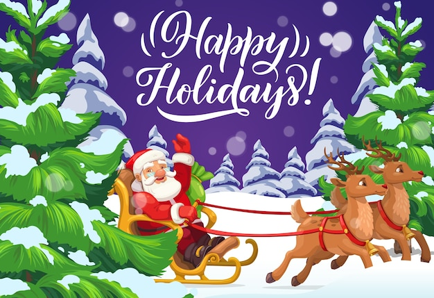 Santa riding christmas sleigh on snow of xmas winter holiday forest greeting card.