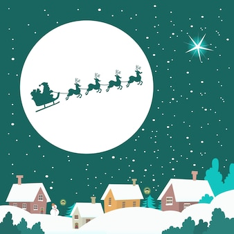Санта катается на санях по зимнему небу