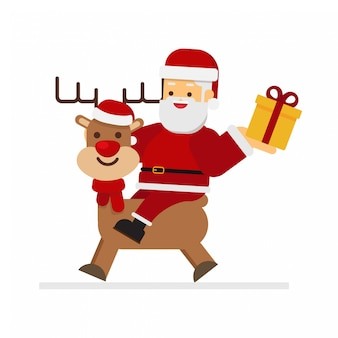 Santa riding a reindeer in christmas with gift box