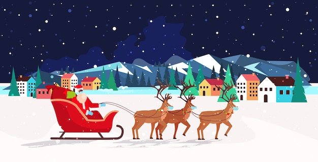 Santa riding in sledge with reindeers happy new year merry christmas banner winter holidays concept night landscape background greeting  horizontal  illustration