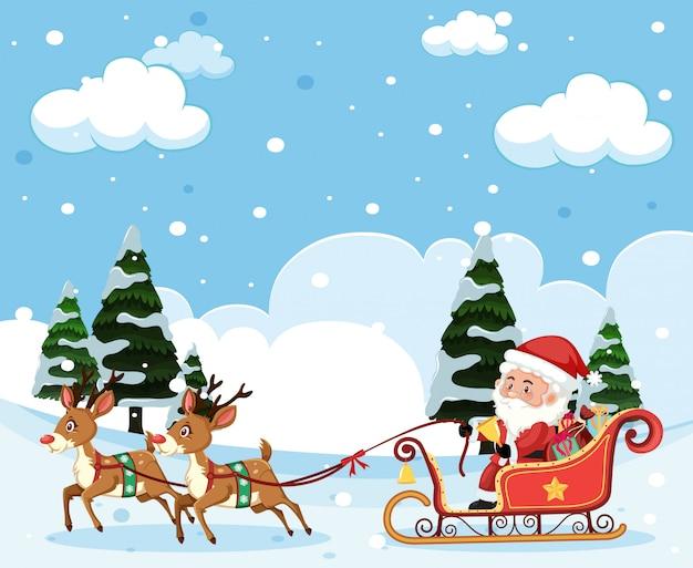 サンタ乗っているsleighクリスマステンプレート
