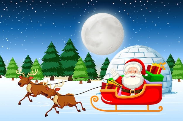 Santa riding sleigh at night