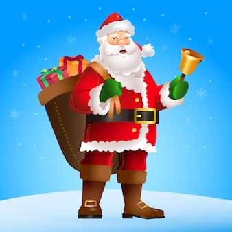 Santa ringing golden bell