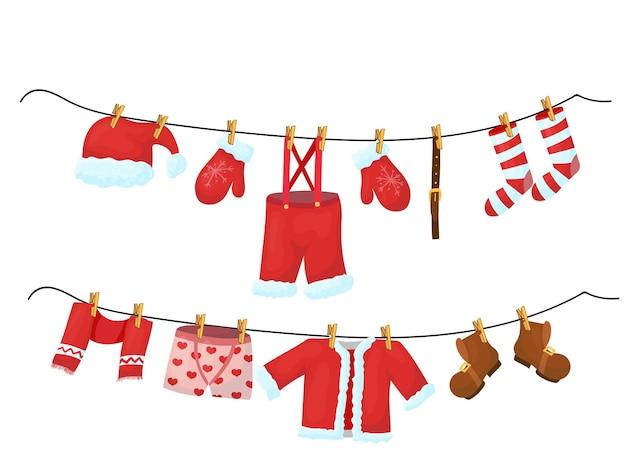 산타의 옷이 밧줄에 매달려 있습니다. 만화 스타일의 크리스마스 장식입니다. 벡터 일러스트 레이 션 흰색 배경에 고립입니다.