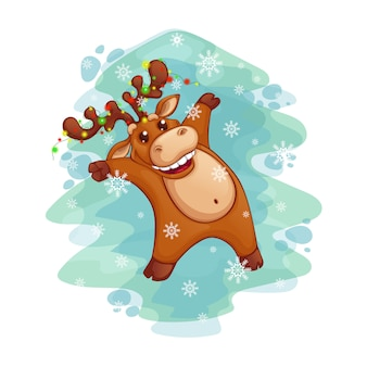 Santa's dancing deer with a garland on the horns.