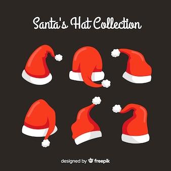 フラットデザインのサンタの帽子クリスマスコレクション