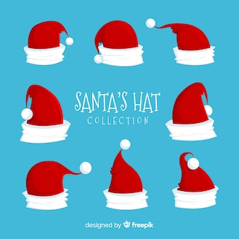 Santa's hat christmas collection in flat design
