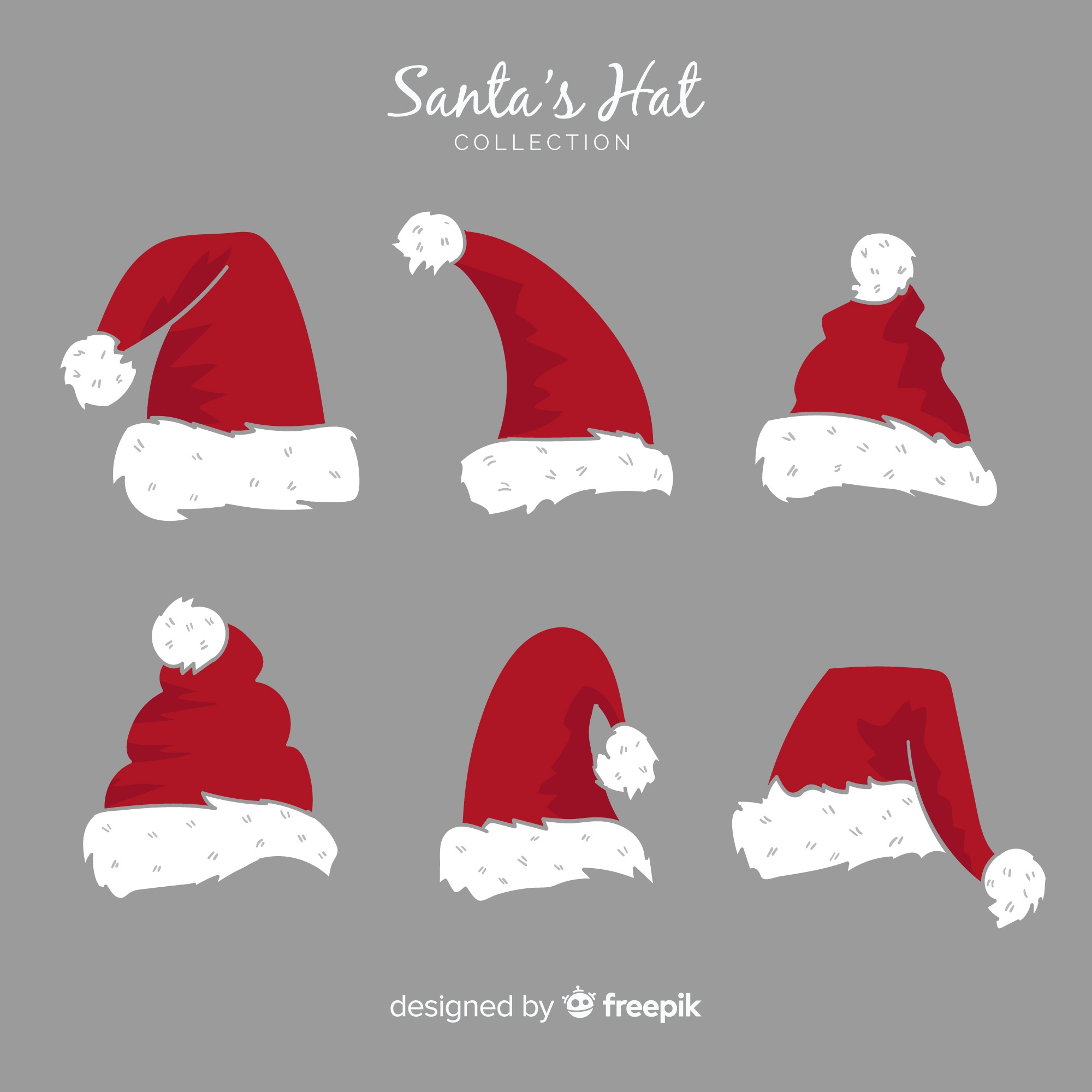 Santa's hat christmas collection in hand drawn style