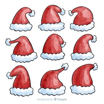 水彩のサンタの帽子クリスマスコレクション