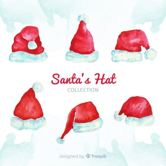 Santa's hat christmas collection in watercolor