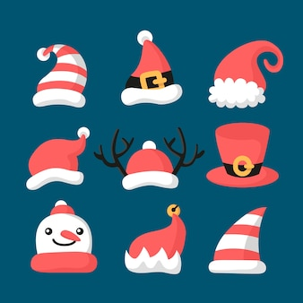 Santa's hat collection in flat design