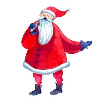 Санта поет караоке держит микрофон