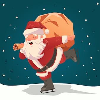 Санта катается на коньках, счастливо неся мешок подарков в снежный сочельник рисованной иллюстрации