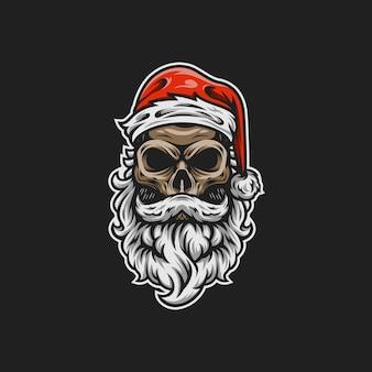 Santa skull mascot  illustration