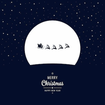 겨울 크리스마스 밤에 도착하는 산타 썰매