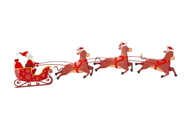 Santa on sleigh and his flying three bulls isolated