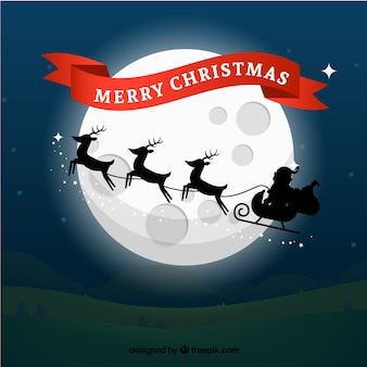 Santa sleigh moonlight