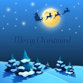 Santa sleigh in the moonlight