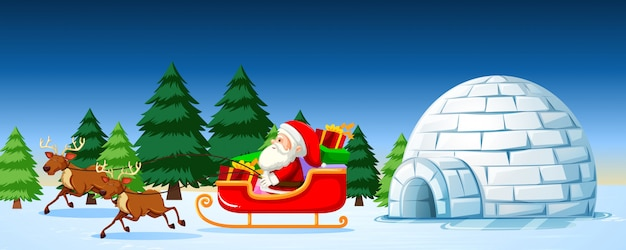 Santa on sleigh scene
