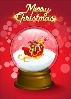 クリスマスの雪の世界の結晶の中のプレゼントの山とサンタのそり