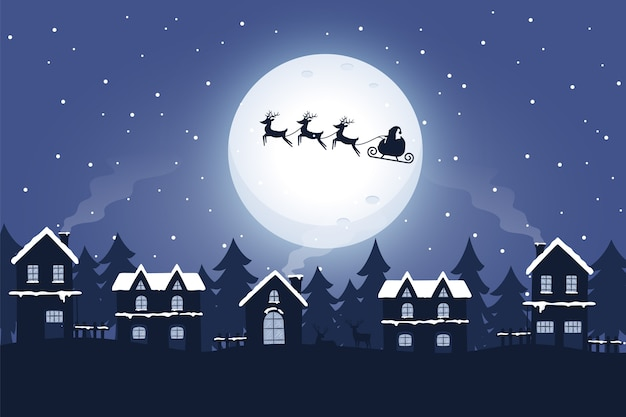 Santa and sleigh with reindeer in the night Premium Vector