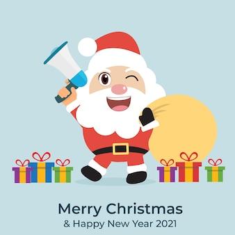 Санта говорит разговор и подарочная коробка