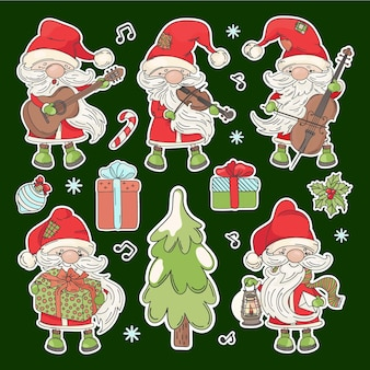 Santa stickers cartoon claus with musical instruments christmas tree and new year gifts printable and plotter cutting clipart vector illustration set