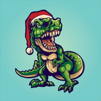 Santa t-rex illustration