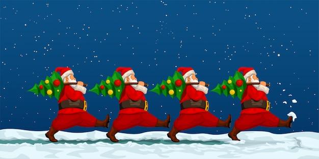 Santa team carrying trees