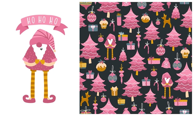 Santa toy, christmas tree and gift boxes. set of  seamless patterns and illustrations.