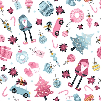 Santa toy seamless pattern, christmas tree and other holiday details. childish hand-drawn scandinavian style. a limited blue pink palette on a white background is perfect for print.