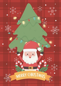 Santa tree and candy canes merry christmas card