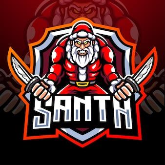 サンタの戦士のマスコット。 eスポーツロゴデザイン