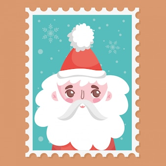 Santa wearing hat with pompon stamp