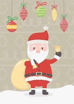 サンタのバッグと手を振っているイラスト